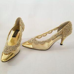 J.Renee Closed Toe Gold Leather Pearl Mesh Heel 8M